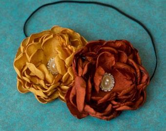 theGoldenRust Flowers Headband // Couture Flower Headband // Burnt Orange and Mustard Flowers Headpiece