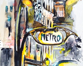 Paris Inspired Giclee Art Print, Parisian Cityscape Watercolor Painting, Lana Moes Art, Contemporary Home Decor, Modern Decor, Art Deco