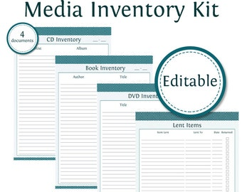 Media Inventory Kit - Fillable - Printable PDF - Instant Download - 4 documents