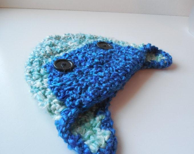 Baby Aviator Hat - Blues - Handmade Crochet - Ready to Ship