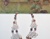 SALE Necklace Earrings Silver flowers in Autumn Pearls gift set