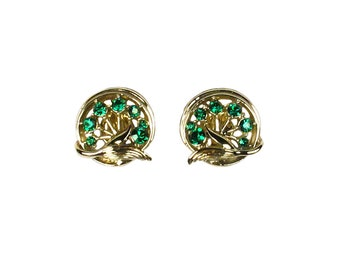 Vintage Green Rhinestone Star Novelty Company, Inc. Earrings