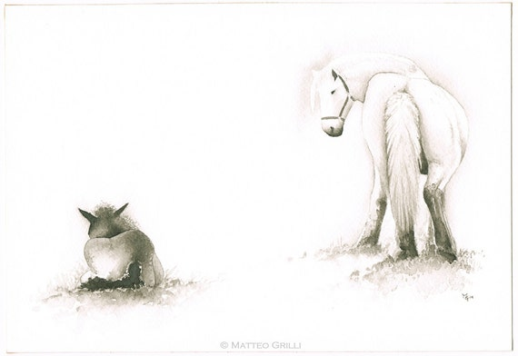 Horses, Original Watercolour Painting, Free Shipping