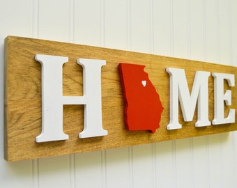 "Georgia Bulldogs ""State Heart"" Home Sign - Handcrafted wood with official team colors"