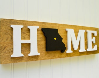 "Missouri Tigers ""State Heart"" Home Sign - Handcrafted wood with official team colors"