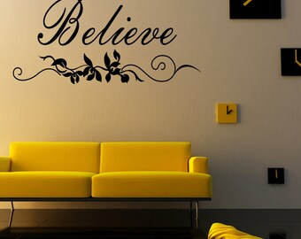 Believe Vinyl Wall Decal Quotes Home Sticker Decor (JR340)