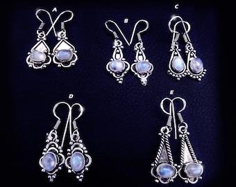 Vintage moonstone earrings, vintage Tibetan earrings, moonstone earrings, sterling silver moonstone earrings, vintage jewelry, vintage boho