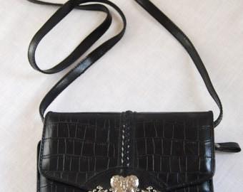 Vintage black western purse with silver heart detail - bag clutch hangbag wallet
