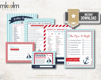 Nautical Baby Shower Games, 6 Pack of Games, Nautical Advice Cards, Ahoy It's A Boy Baby Shower, Red and Blue, INSTANT DOWNLOAD, #N1