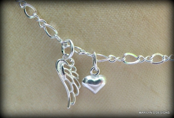 Sterling silver angel wing and heart anklet or bracelet,  Angel wing jewelry, Bridal anklet, memorial jewelry, sandal jewelry