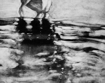 "Haunting Figure Monotype Print, ""Solitude XIV"""