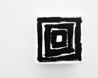 TUNNEL - 4 x 4 inch Canvas - Black and White Abstract Painting Black and White Fine Art Small Square Painting Small Canvas Art - LYNDA BLACK