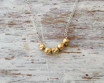 Silver necklace, gold bead necklace, two tone necklace, tiny beads necklace, dainty necklace, gold beads, gold filled - 6621