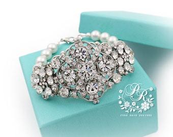Wedding Bracelet Victorian Swarovski Pearl Rhinestone Bracelet Bridal Bracelet Wedding Jewelry Wedding Accessory Bridal Jewelry meteor
