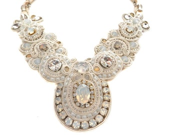 1 DAY LIKE THIS soutache ivory bridal necklace with Swarovski crystals