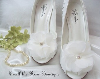 Wedding Organza Flower Shoe Clips,Bridal Flower Shoe Clips,Wedding Accessories