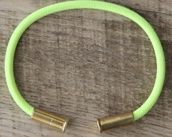 Bullet Casing Bracelet Electric Lemon 550 Paracord BRZN