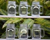 8 Mason Jar Wedding Glasses - Wedding Party Personalized Mugs with Handle - Groomsmen Favor, Bridesmaid Gift - Custom Name & Date