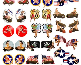 WWII Pinup Model Building Nose Art Water slide Waterslide decal Sticker 1:32 - 35  Great for Headstock or Jewelry Making #324