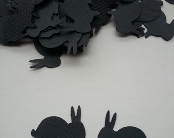 100 Black Bunny Rabbits, Die Cut, Bunny Confetti, Easter Table Scatter, Halloween Rabbits, Silhouette Rabbit, DIY Rabbit Toppers