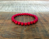 Men's Beaded Bracelet: Natural Wood Beads in Red