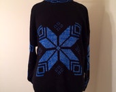 Vintage 80s Black and Blue Sparkle Snowflake Sweater Size 10