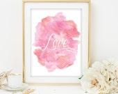love printable watercolor love art print pink watercolor printable typography wedding decor love print pink and orange love print watercolor