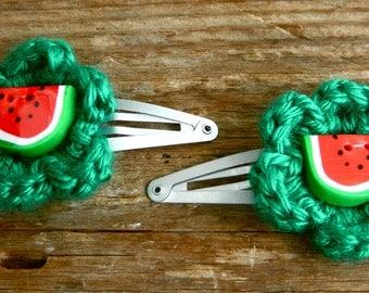 Green Crocheted Flower Hair Clips with Watermelon Button (set of 2)