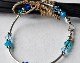 Blue Swarovski crystal and sterling silver bracelet set delicate bracelet keepsake bracelet