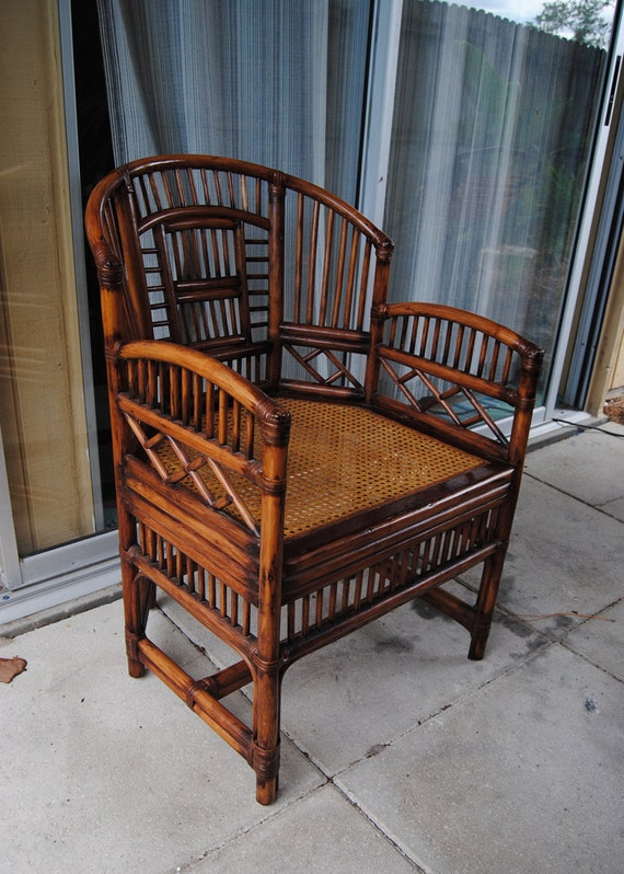 Vintage Brighton Style Rattan Bamboo Chair Asian By Thelanai