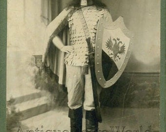 Long haired man w shield sword antique photo Russia