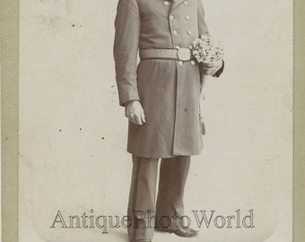 Young man soldier in uniform with flowers antique cabinet photo Waverly NY