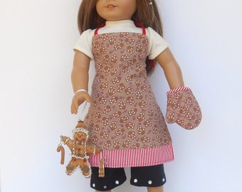18 Inch Doll Clothes, Gingerbread Man Chef's Set, Apron, Chef's Hat, Oven Mitt, Gingerbread Man Apron