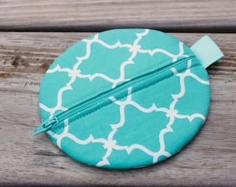 Aqua Teal QUATREFOIL Pod, Pacifier Case, Pacifier Holder, Diaper Bag Accessory, Wallet Purse, Earbud Case, Pacifier Pouch