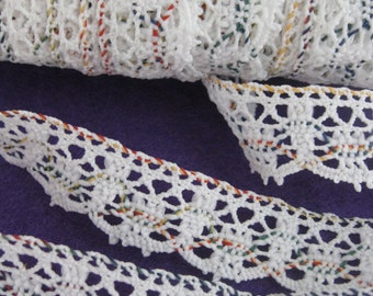 25 Yards - Vintage Off White Cotton Lace Trim - Multi-colors - 1970s