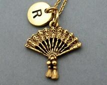 Fan necklace, Asian Fan necklace, Hand Held Fan necklace, antique gold, initial necklace, initial hand stamped, personalized, monogram