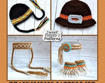 Thanksgiving Pattern Pack - Pilgrim Hat, Indian Princess, Indian Hat & Headband
