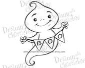 "Ghost with ""Boo"" Banner 2 Digital Stamp/ KopyKake Image"