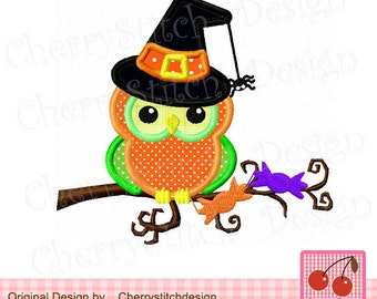 "Halloween owl, Witch owl Machine Embroidery Applique Design 02 -4x4 5x5 6x6"""