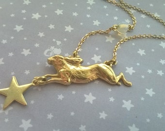 The Moon Hare  Opalite and Star Angle Necklace