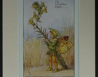 1925 Vintage Print Of The Toadflax Fairy - Flower Fairies Of The Summer First Edition - Cicely Mary Barker Print - Wildflower - Snapdragon