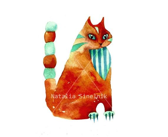 Funny tabby red cat digital download from original watercolor art nursery art, orange clipart
