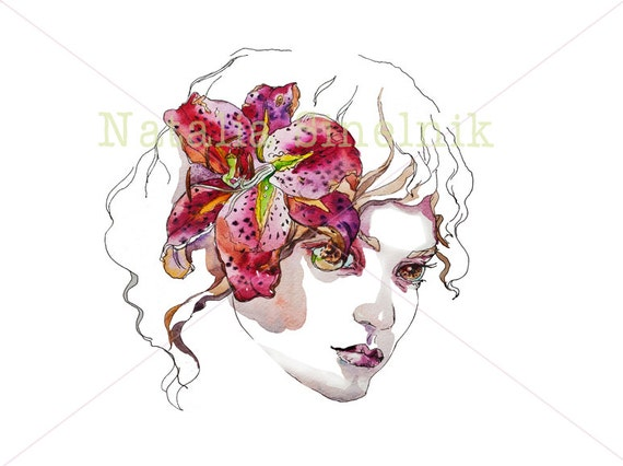 Girl with pink lilly in her hair digital download from original watercolor fine art avatar clip art