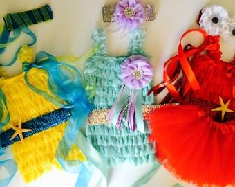 The Little Mermaid Inspiered Ariel, Flounder, and Sebastian Set. Birthday Party. Halloween Costume . The Little Mermaid Birthday Party.