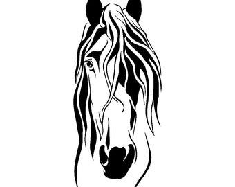 Detailed Horse Head Wall Decal