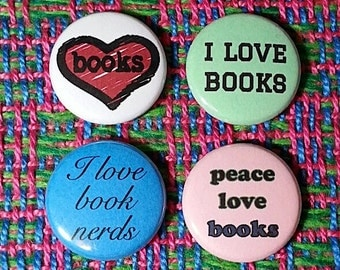 Book Love Buttons - Set of 4