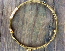 Gold Guitar String Bracelet, Guitar String Jewelry - Stacking Bracelet - Bangle with Guitar Ball Ends