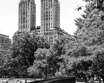 New York Photography - Central Park Lake and San Remo Building. Black and White Photograph, Central Park, Manhattan, New York - 8x10 photo