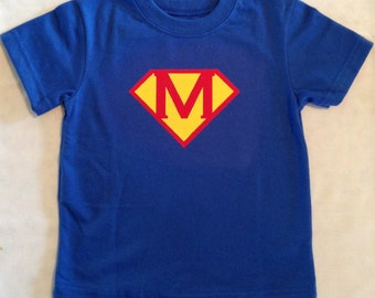 Personalized Superhero T-Shirt, Superhero Shirt, Kids T-shirt with Initial, Birthday Shirt