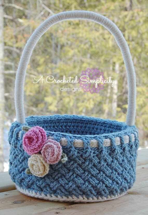 Crochet Pattern: Woven Treasures Basket Pattern, Easter or Everyday w/ Permission To Sell Finished Items
